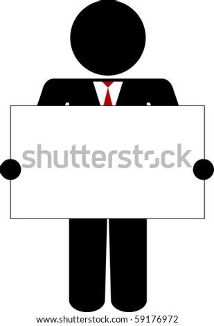 Stick figure holding a business card