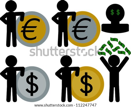 Stick figure leaning on coin and throwing money above it self
