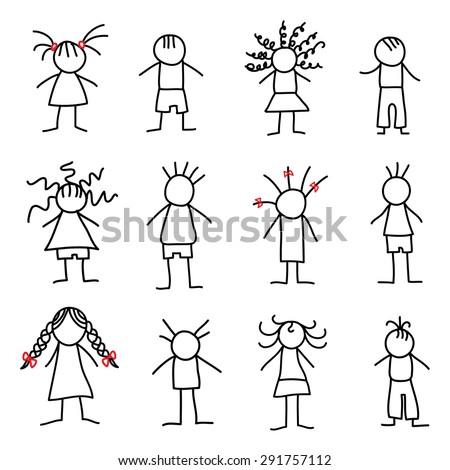 Stick figure little children