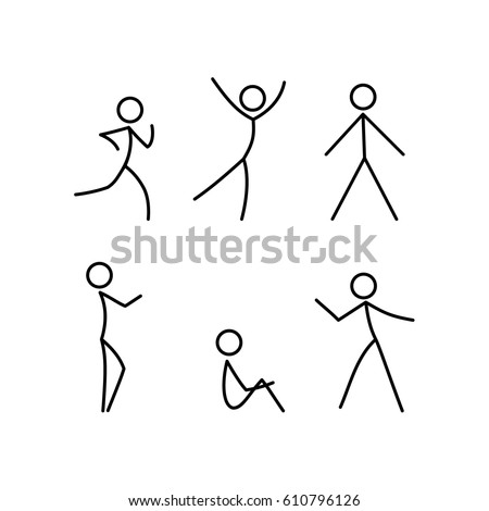 Stick figure man, a set of different movements.