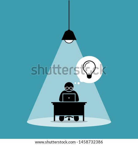 Stick figure man concentrating and focusing on his computer work and thinking of new idea under a spot light. Vector artwork concept depicts focus, working hard, dedication, and high attention. Stockfoto ©