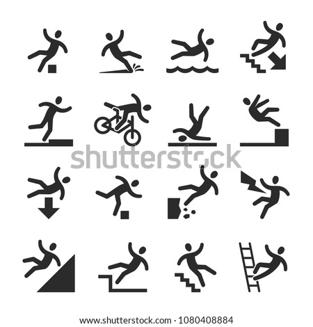 Stick figure man falling beware, hazard warning symbols. Person injury at work vector signs isolated. Illustration of figure man, accident and risk