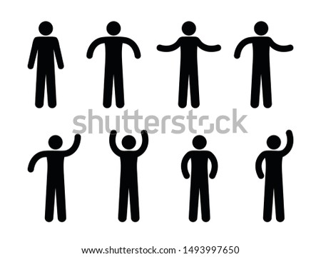 Stick figure man illustration, different poses and gestures, waved hands, isolated symbols