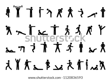 stick figure of a person, fitness, gym icon isolated, pictogram man doing exercises, human silhouette, sport symbol