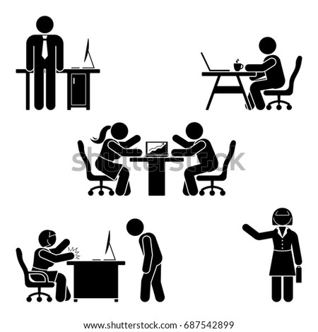Stick figure office poses set. Business finance workplace support. Working, sitting, talking, meeting, training, discussing vector pictogram