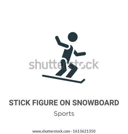 Stick figure on snowboard glyph icon vector on white background. Flat vector stick figure on snowboard icon symbol sign from modern sports collection for mobile concept and web apps design.