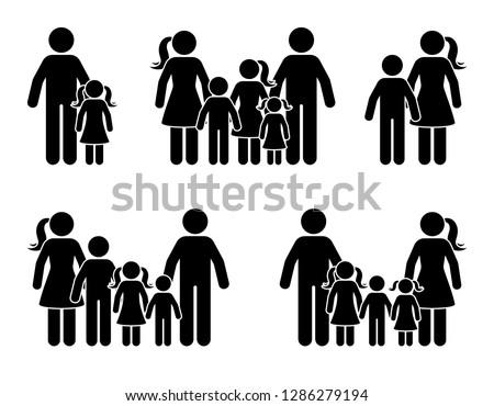 Stick figure parents and children icon set. Big happy family black pictogram