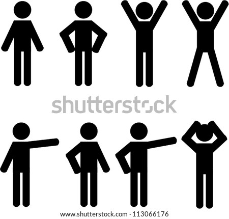 Stick figure positions set vector