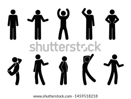 Stick figure positions set vector man