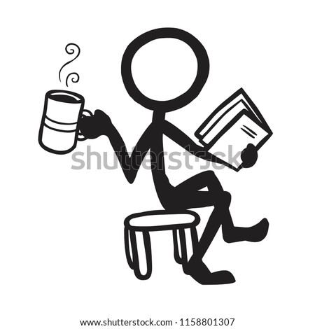 Stick Figure Reading with Coffee