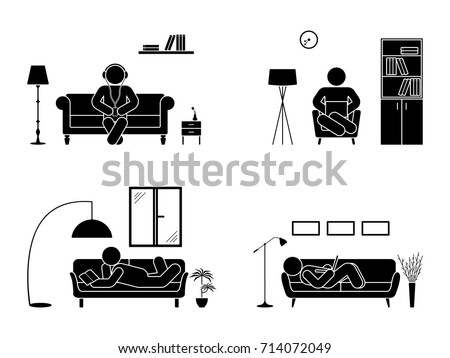 Stick figure resting at home position set. Sitting, lying, reading book, listening to music, using laptop vector icon relaxing posture on sofa and armchair. Furniture silhouette pictogram