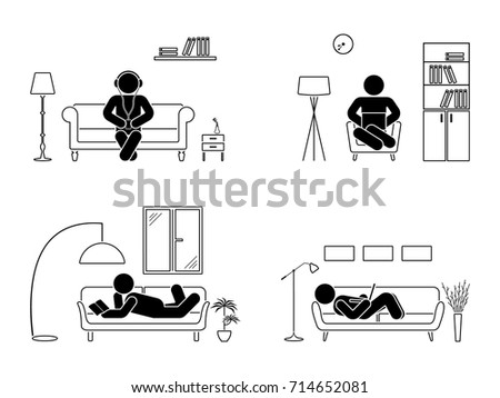 stick figure resting at home