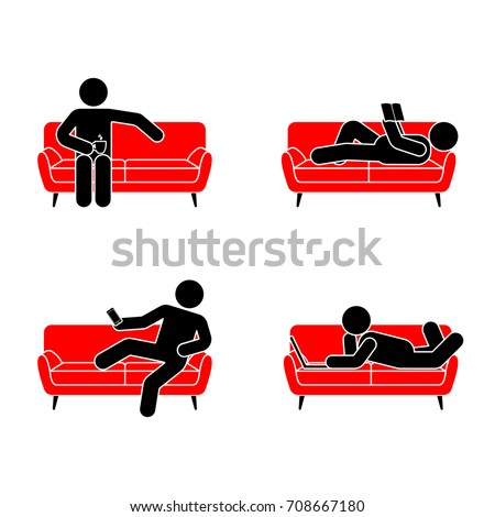 Stick figure resting position set on red sofa. Sitting, lying, reading book, watching phone, drinking tea, using laptop vector icon pictogram