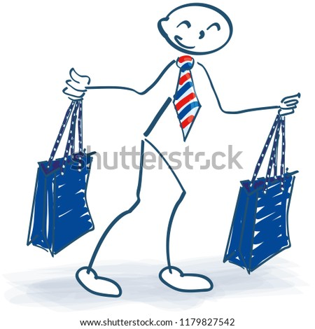 stick figure with two shopping