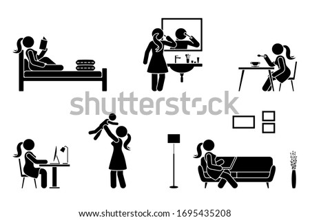 Stick figure woman everyday life time activities vector illustration icon set. Read book, do makeup, eat, sit at desk, work, study, play with child, use laptop on sofa pictogram Photo stock ©