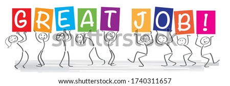 Stick figures holding the word GREAT JOB. Motivational Vector banner with the text GREAT JOB