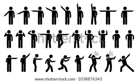 Stick Figures of a Person Pointing Finger. A set of stick figures showing a man pointing in different directions on different poses and positions.