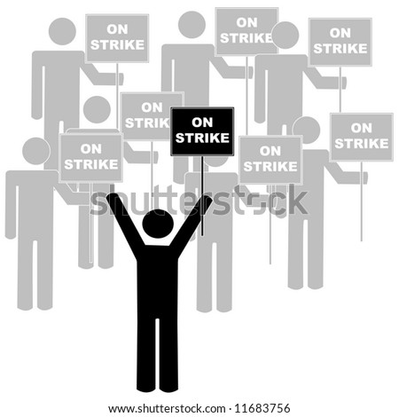 stick figures or men with union leader on picket line - vector