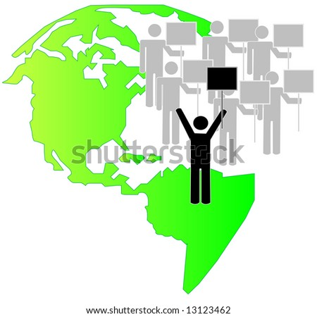 stick figures with team leader on strike with earth background - vector
