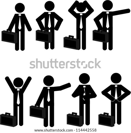 Stick man business icons