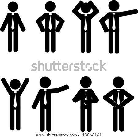 Stick man business icons vector