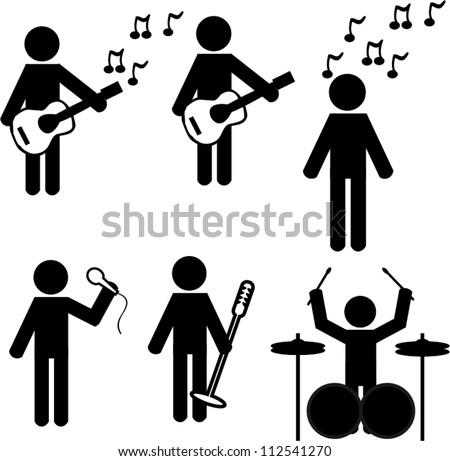Stick man music - stock vector