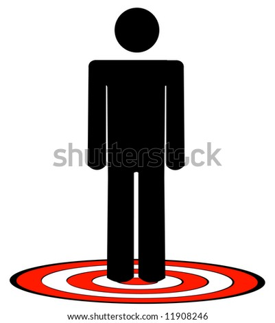 stick man or figure standing on red target - vector