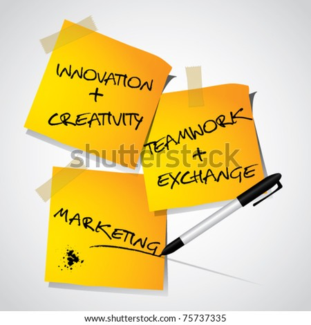 Stick notes with marketing and business related text