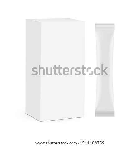 Stick sachet with paper box mockup isolated on white background. Vector illustration