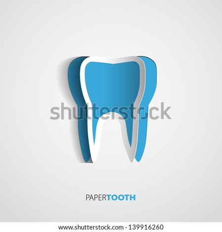 sticker blue paper tooth on