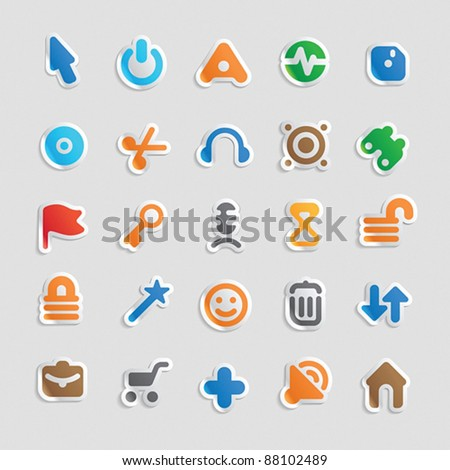 Sticker button set. Icons for program and website interface. Vector illustration.