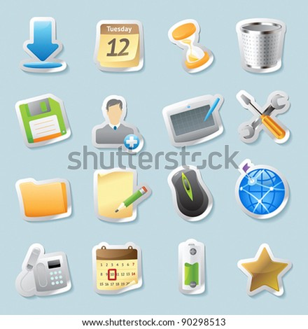 Sticker button set. Icons for signs and interface. Vector illustration.