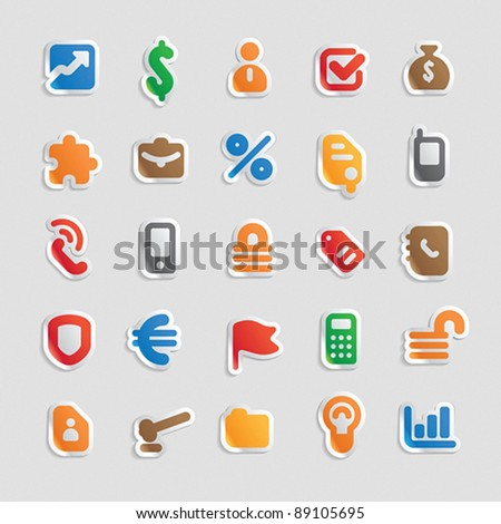 Sticker button set. Multicolored icons for business, finance and security. Vector illustration.