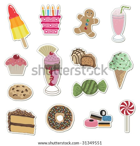 sticker collection - sweets, cakes, ice cream and cookies
