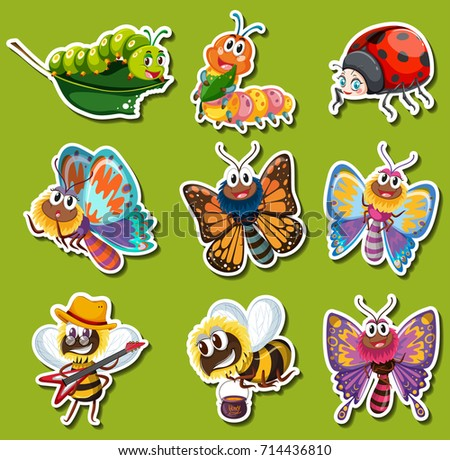 Sticker design for different kinds of insects illustration