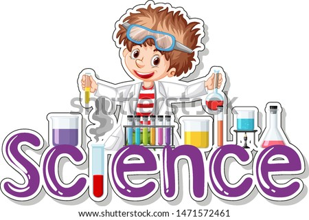 Sticker design with scientist doing experiment illustration