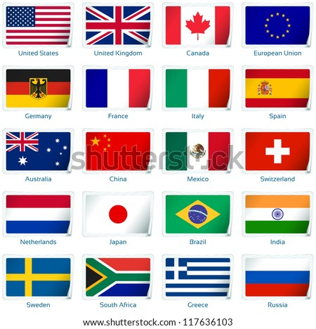 Sticker flags: Popular. Vector illustration: 3 layers:  �· shadows  �· flat flag (you can use it separately)  �· sticker. Collection of 220 world flags. Accurate colors. Easy changes.