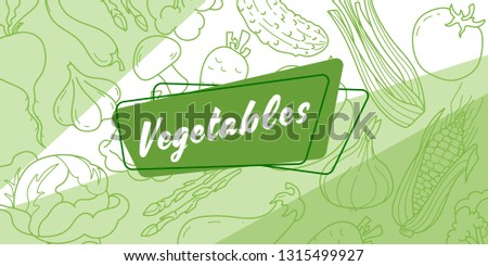 Sticker for grocery store Vegetables. In the background, a pattern of vegetables on a green background. Vector #1315499927