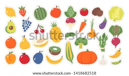 Sticker for kids. Fruit and vegetables