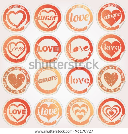 Sticker grunge love heart - stock vector