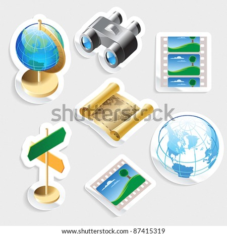 Sticker icon set for travel and tourism.  Vector illustration.