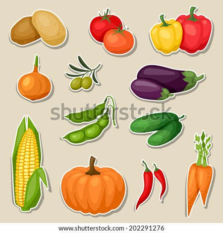 Sticker icon set of fresh ripe stylized vegetables. #202291276