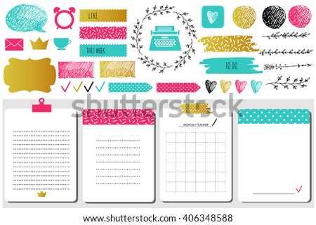 Sticker, icons, signs for organized your organizer. Monthly Planner. Template for notebooks,, scrapbooking, wrapping, wedding invitation, cards, poetry notes, diary. Modern style.