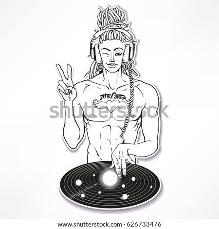 stickerintergalactic dj buddha