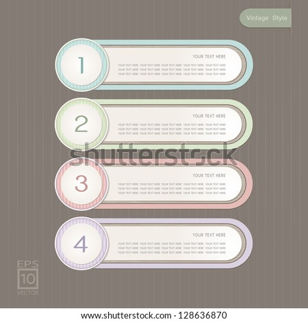 Sticker Label color set, Vintage Style
