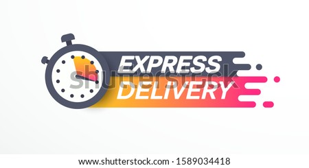 Sticker, label express delivery. Timer and express delivery inscription. Vector illustration. EPS 10 Photo stock ©