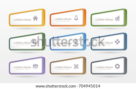 Sticker label with business icons set #704945014