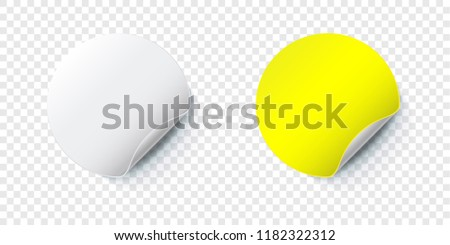 Sticker mockup. Vector round paper label with folded corner isolated on transparent background #1182322312