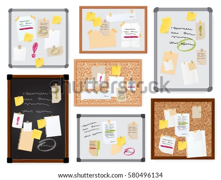 Sticker notes pined on board vector illustration. Foto d'archivio ©