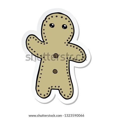 sticker of a cartoon gingerbread man #1323590066